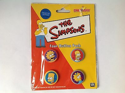The Simpsons Button Pins 4 Pack Homer Bart Lisa Maggie