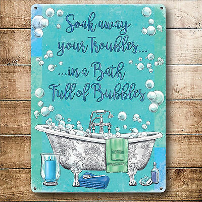 Vintage Style Shabby Metal Wall Door Sign For Bathroom Chic House Home Picture