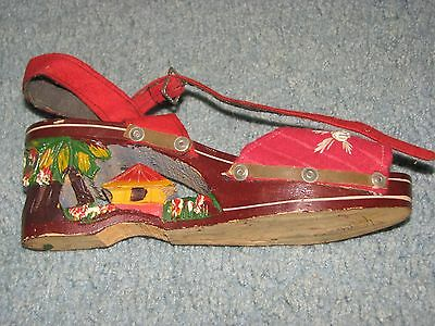 Vintage 1940s Carved and Painted WOOD Platform Shoes Woman/Girls Size 5
