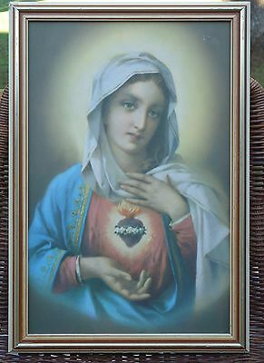 Lovely Vintage Framed Picture *Our Lady of the Sacred Heart *Catholic Religious