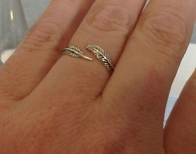 925 Sterling Silver Open Feather Ring Cute UK Seller