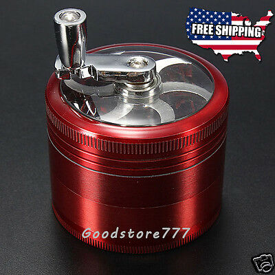 """Herb Grinder Crusher for Tobacco Spice 2.5"""" 4 layer Metal Hand Crank 4pc Smoke"""