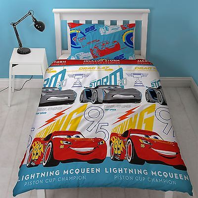 Disney Pixar Cars 3 'Lightning' Reversible Single Duvet Cover & Pillowcase Set