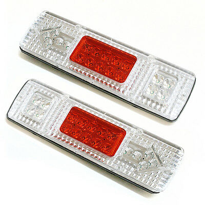 2x 12V Led Rear Tail Lights For Transporter Truck Lorry Trailer Tipper Chassis