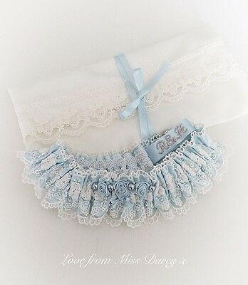 Bridal Garter and Bag Ivory Blue Personalised Rose Miss Darcy Wedding Brides Hen