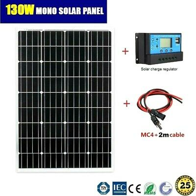 130W 12V MONO SOLAR PANEL KIT INCL. SOLAR CHARGE REGULATOR AND PAIR MC4 2m CABLE