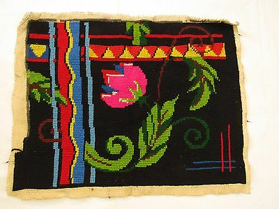 Vintage Pillow cover Embroidered Fabric Needlepoint Tapestry 33 x 42 cm Cotton