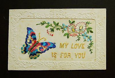 WW1 Silk Postcard Butterfly My Love Is For You