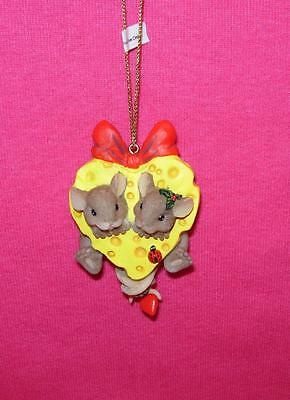 Charming Tails OUR OWN LITTLE SLICE OF LOVE  Mice in Cheese Ornament 4023666