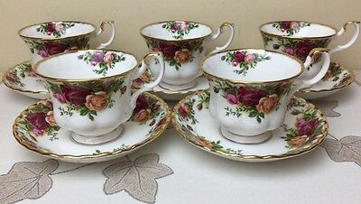Royal Albert Old Country Roses 5 x Cups & Saucers 1962 1st Quality Mint Unused