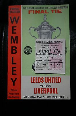 Leeds Utd v Liverpool 1965 FA Cup Final Programme + Ticket Stub