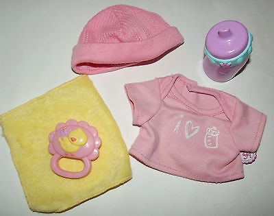 Baby Alive Wet n Wiggles Girl Lot -Shirt Bottle Hat Rattle Clothing Accessories