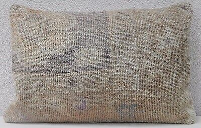 Oushak Ushak Rug Cushion Cover  Muted Color Low Pile Sofa Bed Pillow 16''x24''
