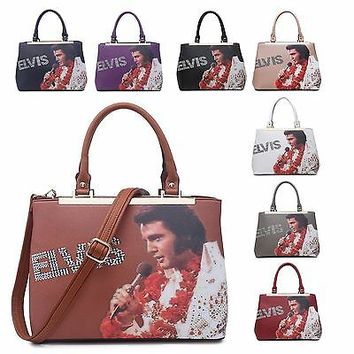 Womens Elvis Presley Aloha From Hawaii Faux Leather Rhinestone Shoulder Hand Bag