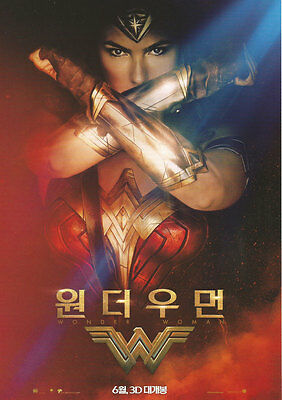 WONDER WOMAN 2017 Korean Mini Movie Poster Movie Flyer A4Size Promotion Material