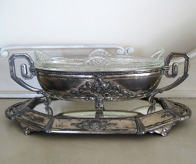 Art Nouveau French Jardiniere & Mirror Tray by Orfevrerie Dilecta
