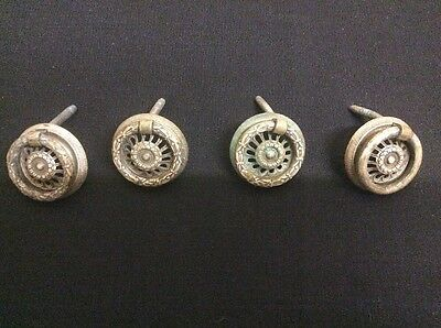 Set Of 4 RECLAIMED CIRCULAR ANTIQUE SOLID BRASS DRAW-CABINET PULL HANDLES