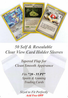 Perfect Fit Card Sleeves for Gaming Cards SelfSeal Clear View 50 Sleeves 20-55PT