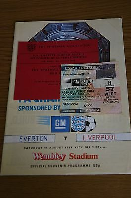 Everton v Liverpool 1984 Charity Shield Programme/Ticket Stub/Buffet Pass