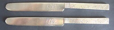 "Antique Southern solid Coin Silver 7 3/4"" knife Warner 11-2 engraved LH Qty 1"