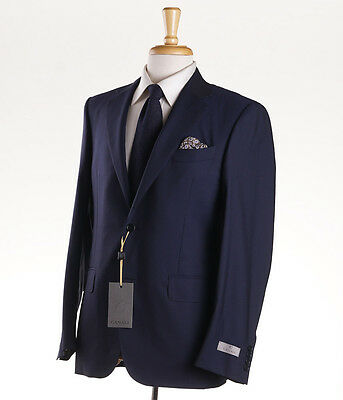 NWT $1895 CANALI 1934 Solid Navy Blue Lightweight Wool Suit 44 R Modern-Fit