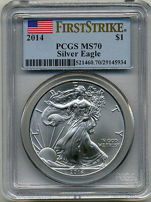 2014 American Silver Eagle $1.00 First Strike Pcgs Ms70 Blue Flag Label