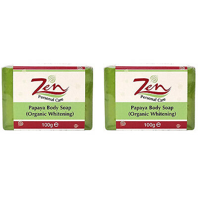 ZEN PAPAYA BODY LIGHTENING Soap Organic Pk2 Exfoliates dead skin during bath