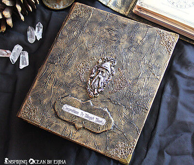 Book of shadows Grimoire binder, book cover A5 size with wizard, occult magick