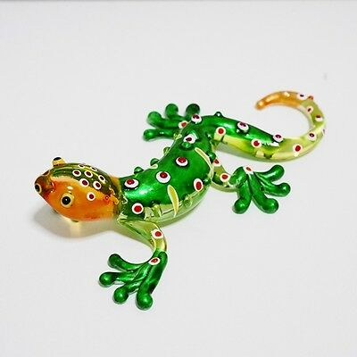 Green Gecko Lizard Figurine Animal Hand Blown Glass Home Decor Collectible Gift