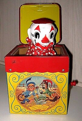 Early Mattel Jolly Tune The Clown Jack in the Music Box Tin Cardboard Litho TOY