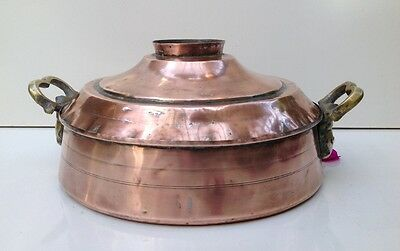 Antique Turkish Arabic Copper Pot Pan SIGNED