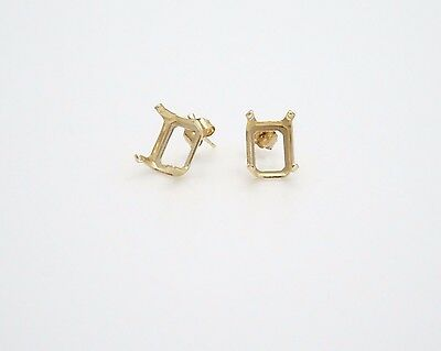 14kt Yellow Gold - 10x8mm - Emerald Cut - Snap-in Earring Castings