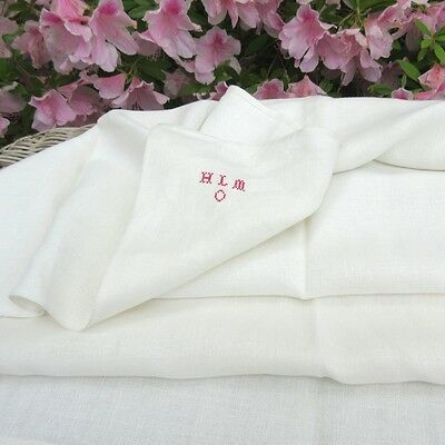 "Vintage French Linen Dish Towel, Monogrammed, 43 ¼"" x 31 ½"""