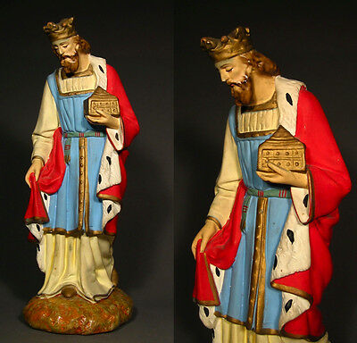 """Old Large French Church Painted Plaster Santon Nativity Figurine """"Wise Man"""""""