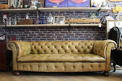 Antique Tan Leather Chesterfield 3 Seater Sofa Distressed Stunning Patina