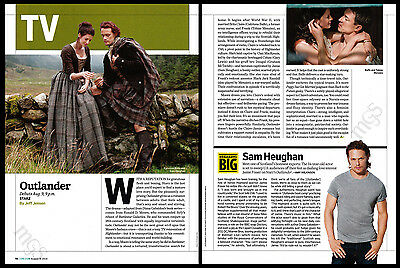Outlander 2-page clipping 2017 Starz Sam Heughan Caitriona Balfe Tobias Menzies