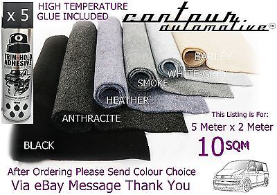 10Sqm Camper Van Carpet Inc 5 Trim Hold Fix Adhesive Car Boat Caravan Lining T5