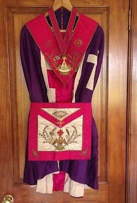 Vintage Masonic Regalia Rose CROIX 18th Degree Hand Embroidered Gold Work