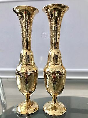 Beautiful Decorative Vintage Pair Of Solid Brass Engraved Heavy Vases