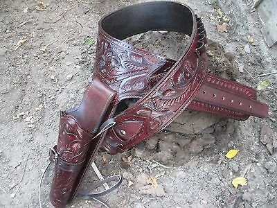 Hand Tooled or Plain Western Holster Fast Draw Brown