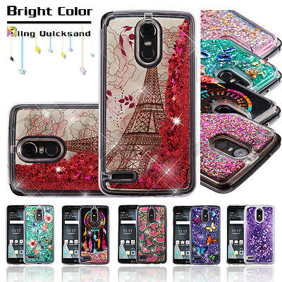 LG Stylo 3 /Plus Bling Hybrid Liquid Glitter Rubber Protective Hard Case Cover