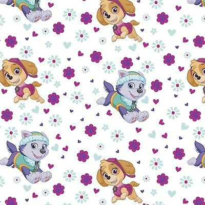 Paw Patrol Pup Power Cotton White 100% Cotton Fabric by the Yard