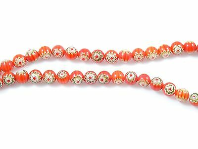 "Red Round Millefiori 16"" Bead Strand - 8mm & 6mm Available!"