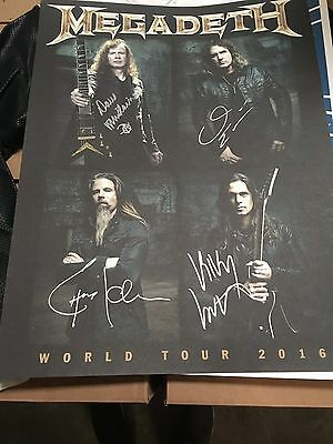 Megadeth Autographed Hand Signed Full Band 18x24 Poster Dave Mustaine Metallica