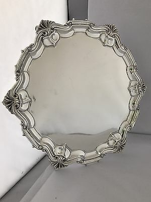Solid Silver Edwardian Salver Or Tray 1905 London William Hutton Large & Heavy