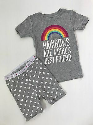 OLD NAVY Rainbow Heart Cotton Pajamas Sleepwear Set 2 PC Lot Girls Size 5T *vguc