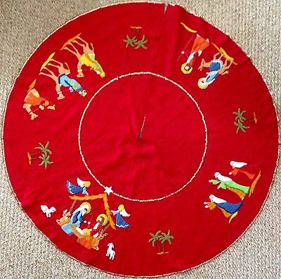 Vintage Complete Finished Bucilla Nativity Tree Skirt