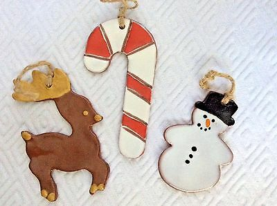 Set of 3 Pottery Glazed SNOWMAN, CANDY CANE & DEER ORNAMENTS Handmade