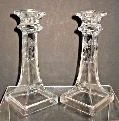 Pair of Depression Era Glass Candlesticks w/ Wheel Cut / Etched Sides - Square