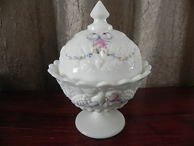 Westmoreland White Milk Glass Hand Painted Candy Dish Floral Paneled Grape